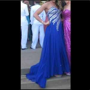Royal Blue PROM dress with silver accents.
